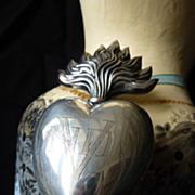 SOLD Rare silver flaming sacred heart ex voto reliquary initials NDV