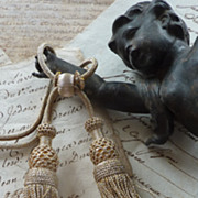 SOLD Delicious  French passementerie silver metallic tassels
