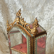 SOLD Miniature ormolu glass display vitrine cabinet doll accessory