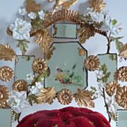 SOLD Delicious ormolu wedding cushion display stand  flowers birds