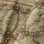 SOLD Delicious antique ribbon work moire panel ROSES  embroidery