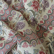 SOLD 12 yards UNUSED antique French linen fabric material floral motifs