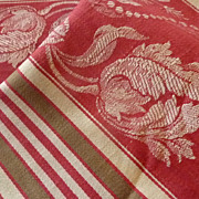 SOLD Delicious 19th C. French ticking fabric  floral motifs projects