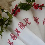 SOLD Set 12 antique French damask napkins  monogram A  F or I