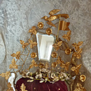 SOLD Rare French wedding cushion display stand crown shipping motifs