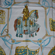 SOLD Authentic vintage HERMES silk scarf LES MUSEROLLES