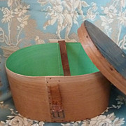 SOLD Darling small antique doll's wooden hat box 1800's