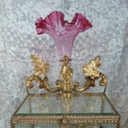 SOLD Unusual 19th C. French wedding display  box  vase , wax finery