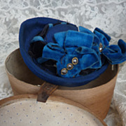 SOLD Darling  antique doll's  wooden hat box  HAT  fashion doll