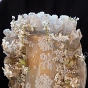 SOLD Antique French bride's wedding bobbin lace bonnet flowers pearl beads