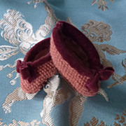 SOLD Hand sewn doll's shoes  needlepoint tapestry bow 1 3/4 inches long