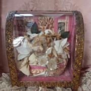 SOLD Antique French pink wedding display vitrine box casket crown