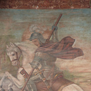 SOLD Superb 19th C. religious tapestry painting Saint George & Dragon