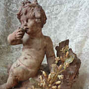 SOLD Antique French wax orange blossom bouquet corsage doll display