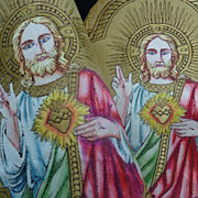 SOLD 2 religious gold metallic textiles JESUS flaming sacred heart