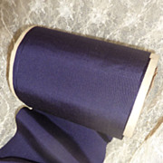 SOLD 9 yards French wide dark mauve  ribbon circa 1900 unused