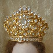 SOLD Adorable French ormolu paste stone crown tiara doll size