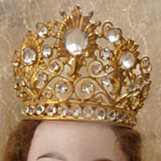 SOLD Adorable French ormolu jeweled crown tiara diadem doll size