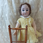 SOLD Adorable antique French faux bamboo caned doll's chair 12 1/4 inch high