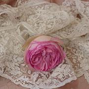 SOLD Flounce luxury Brussels point de gaze needlepoint lace + 4 yards