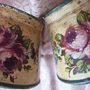 SOLD Adorable pr. hand painted French toleware candle wall sconces