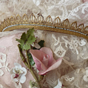SOLD Antique French Empire gilded  faux seed pearl Diadem hair comb crown