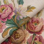 Antique French tapestry upholstery chair panels bouquet flowers No. 2