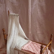 SOLD Adorable small  French faux bamboo wooden  doll's bed & bedding 1900's