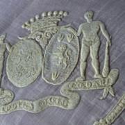 SOLD Rare Aristocratic antique French wedding handkerchief coat of arms moto crown