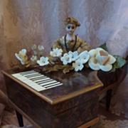 SOLD Rare miniature antique musical piano sewing box 1830 doll accessory
