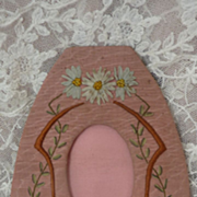 French handmade ribbon work pink photo frame daisy motifs 1920