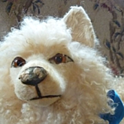 SOLD Adorable old French cream curly coated pajama dog doll companion