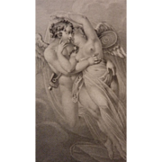 SOLD Delicious 19th C. French engraving Psyche Greek Goddess Soul