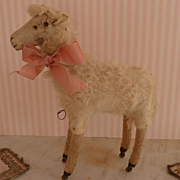 SOLD Rare 19th C. French real fur paper mache toy sheep on wheels