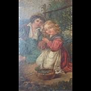 Adorable antique painting 2 young children bucolic scene Georgian era