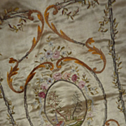 SOLD Delicious antique French ribbon work embroidered silk panel