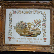 Decorative 19th C. French needlework sampler Chateau deer bird motifs