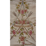 SOLD Exquisite antique French silk embroidery panel Chateau No. 2