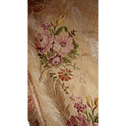 SOLD Exquisite 19th C. French gold silk portiere curtain floral motifs