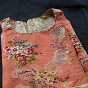 SOLD Delicious 18th C. French ladies silk brocade linen bodice floral motifs