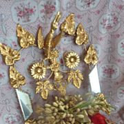 Delicious 19th C. French ormolu square wedding cushion display stand bride's wax pieces