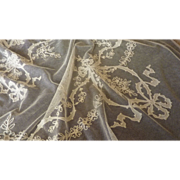 SOLD Antique French off white hand embellished tulle net bed cover ribbon bow floral motifs