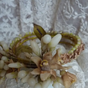 SALE PENDING French orange blossom wax crown tiara corsage doll size 1900's