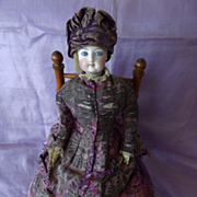SOLD Faded grandeur antique French fashion doll Parisienne piercing eyes original clothing