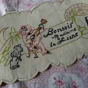 SOLD Amusing French hand embroidered children's musical panel Pierrot dog moon 1920's