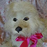 SOLD Unusual French cream real fur boudoir pajama dog floppy ears ideal doll companion