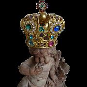 Opulent 19th C. French miniature ormolu bejeweled religious statuette crown Jesus paste stones