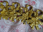 4 delicious antique French gilt bronze ribbon bow with tassel embellishments painting picture hook covers