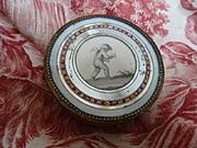 Romantic early 19th C. French pink candy or bonbon box : cherub d'Amour heart motifs boite a d