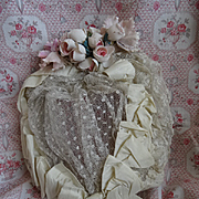 SOLD Delicious 19th century French brides lace taffeta ribbon : bow : wedding bonnet pink mill